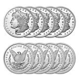 1 oz Sunshine Morgan Silver Rounds (New, Lot of 10)