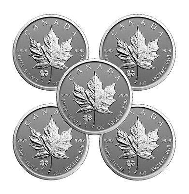 2016 Four Leaf Clover Privy Canadian Silver Maple Leaf Reverse Proof (Lot of 5)