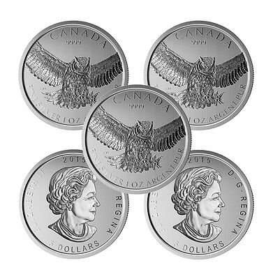 2015 1 oz Canadian Silver Great Horned Owl Coin (BU, Lot of 5)