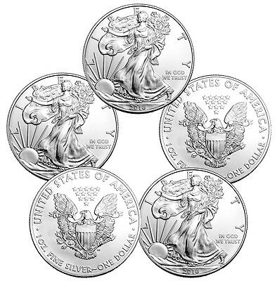 2016 1 oz Silver American Eagle Coins - 5 oz Total .999 fine (BU, Lot of 5)
