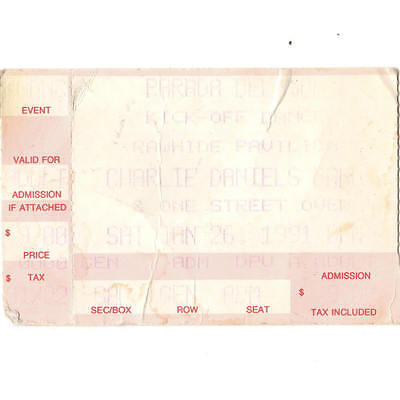 CHARLIE DANIELS BAND & ONE STREET OVER Concert Ticket Stub CHANDLER AZ 1/26/91