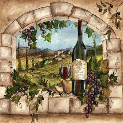 - TUSCAN WINE BOTTLE AND GRAPES IN ARCHWAY IMAGE FABRIC/RUBBER BACK COASTERS