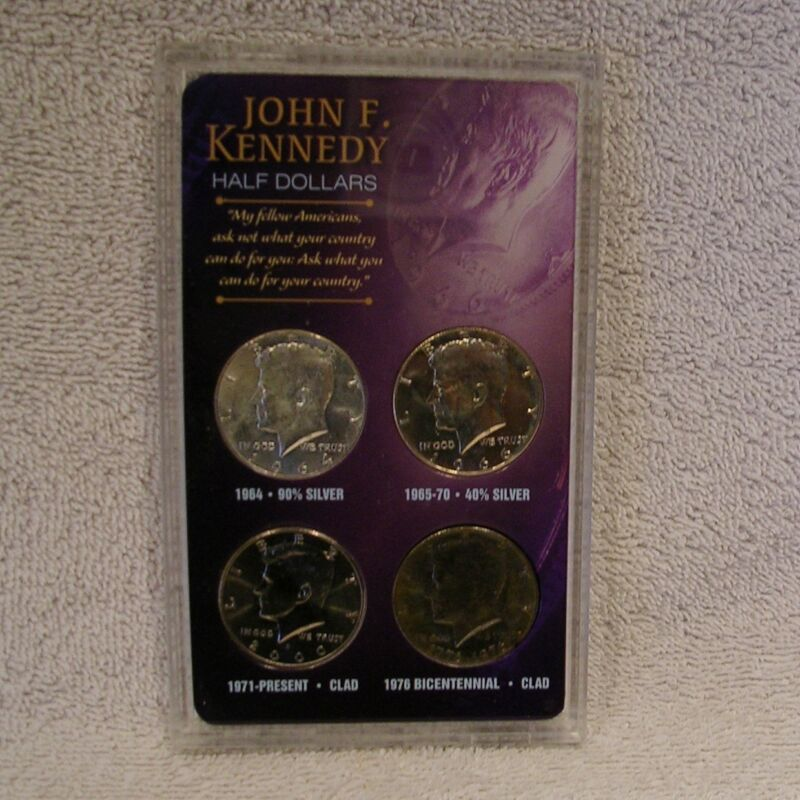 """Kennedy Half Dollar Collection - """"Ask Not .."""" Commemorative Set - 90% 40% Silver"""