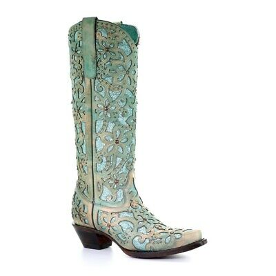 Turquoise Tall Shoes - Corral Ladies Turquoise Inlay Embroidery & Studs Tall Top Boots A3674