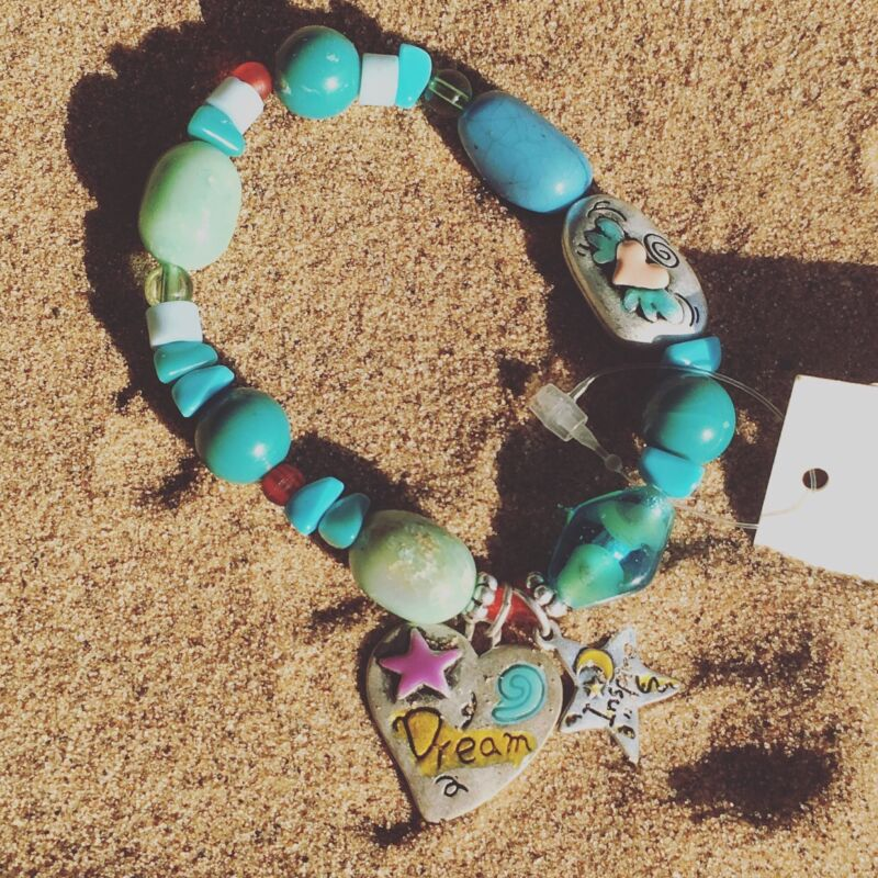 Ms Dee Inc Dreamer Teal Beads & Love Charms Bracelet