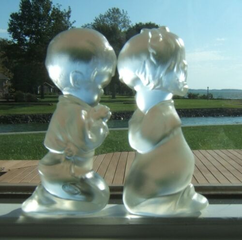 Fenton Glass Satin Boy & Girl Praying Figurines with Stickers and Fenton Marks