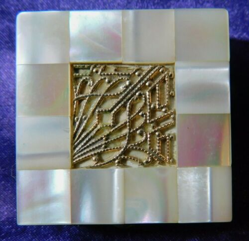 Vintage MOTHER OF PEARL BRASS Pill Box Hinged Lid Square trinket snuff 1.5""