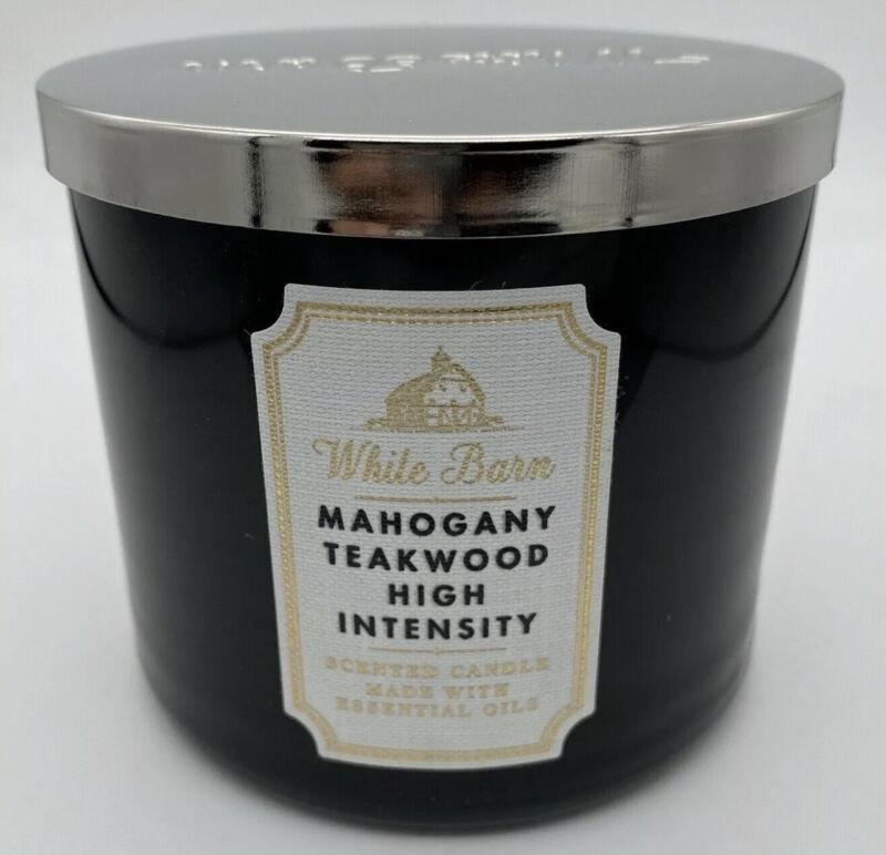 Bath & Body Works White Barn 3-Wick Candle in Mahogany Teakwood High Intensity