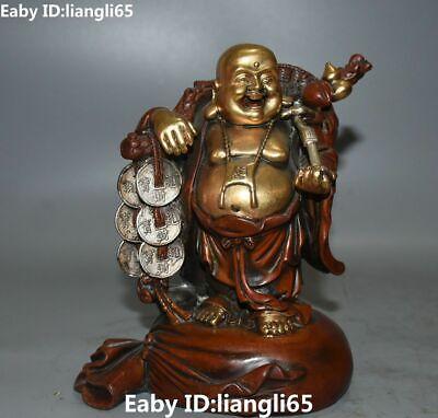 Lila Bronzevergoldung Münze Yuanbao Kürbis Geldbeutel Maitreya Buddha Statue
