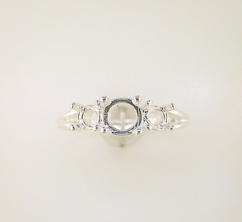 Round Classic Three Stone Ring Setting Sterling Silver
