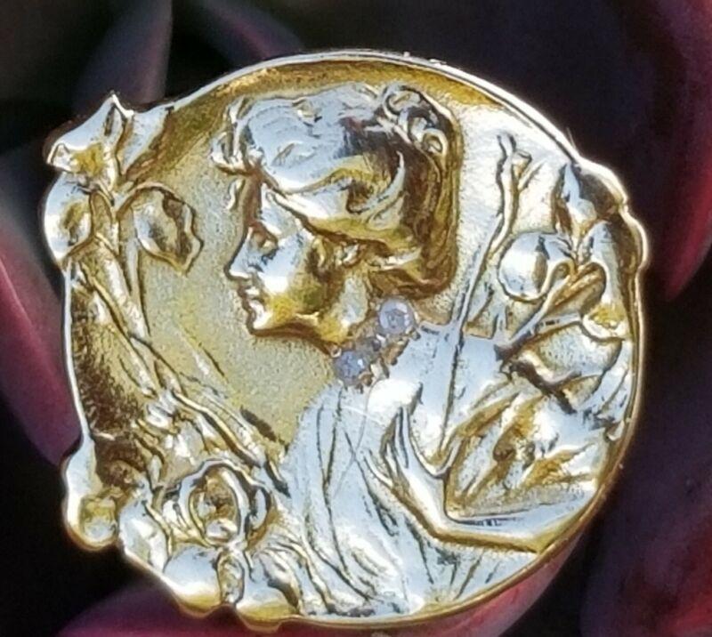 French E. Dropsy Art Nouveau Diamond Maiden Iris 14K Gold Ring- Signed SZ 6.5