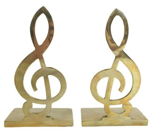 Penco Brass Bookends Musical Note Treble Clef 7.5 inches Set of 2