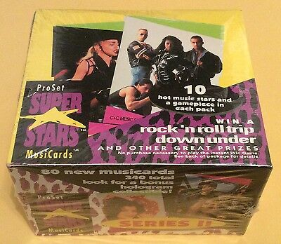 1991 Pro Set Super Stars Musicards Series II Trading Cards Wax Box