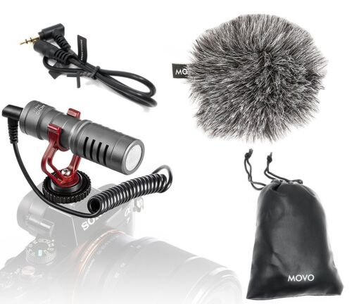 Movo VXR10GY Universal Video Microphone with Shock Mount, De