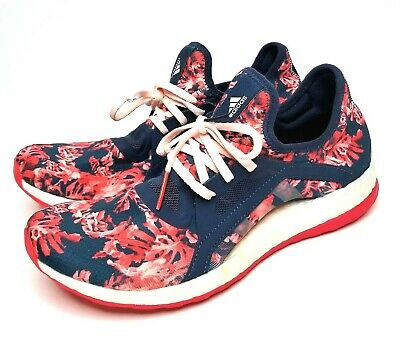 Adidas Pure Boost X Floral Blue Pink Sneakers Athletic Shoes Womens Size 9 GREAT