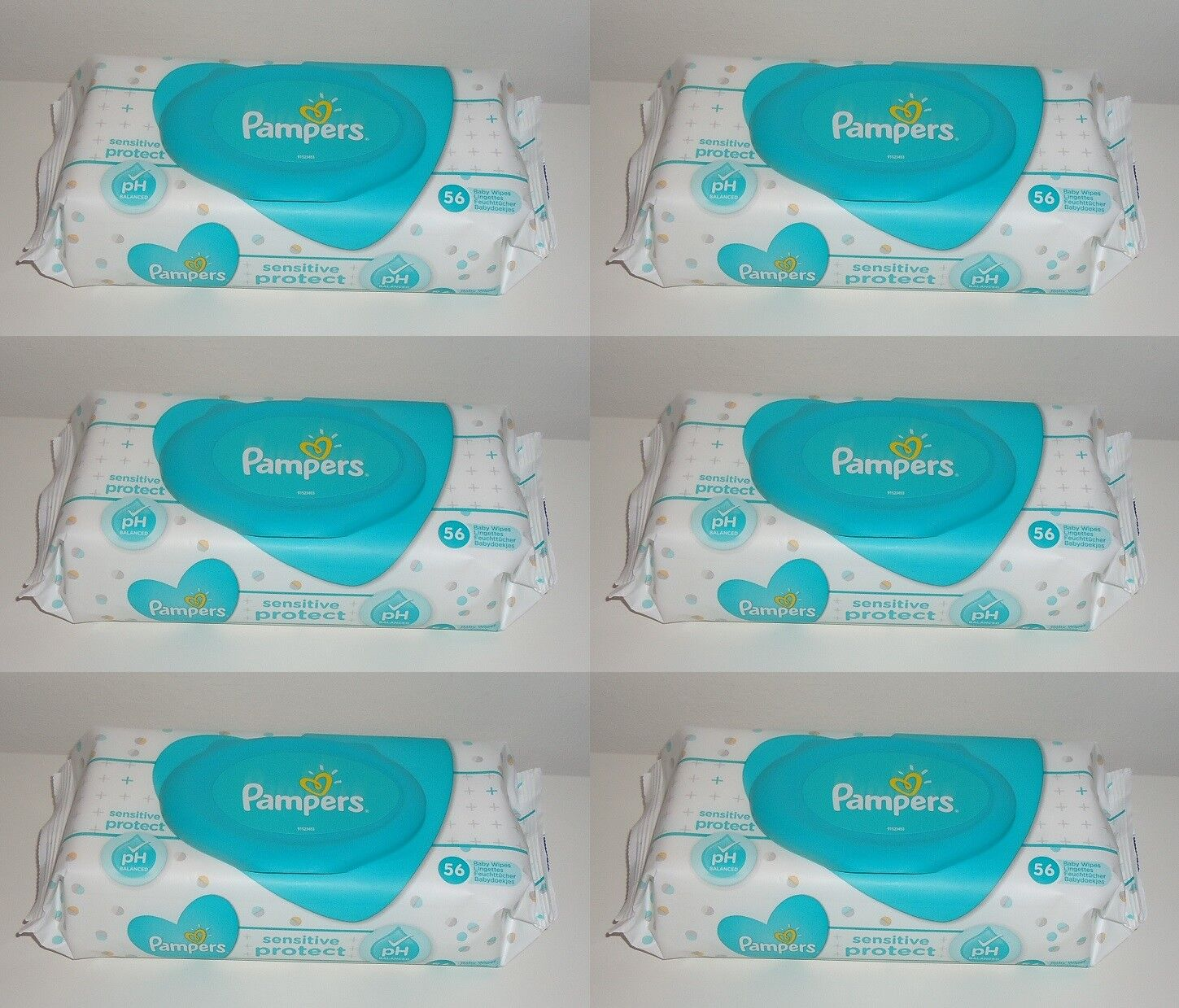 (0,07€ je Tuch) 6x Pampers sensitive protect 56er Feuchttücher