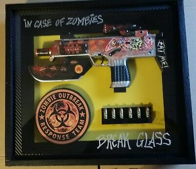 In case of Zombies,  Break Glass shadow box display 15-1/2 x 14 x 3-1/4