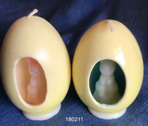 Vintage 1960s Gurley Candle Easter Bunny Rabbit in Egg Pair Unused
