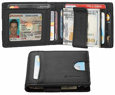 Mens Leather Slim Front Pocket Bifold Wallet Credit Card Holder Money Clip RFID