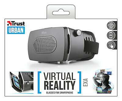 """TRUST 21494 EXA VR VIRTUAL REALITY GLASSES HEADSET FOR 3.5"""" TO 6"""" SMARTPHONES"""