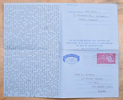 MayfairStamps Great Britain 1969 Herts. To Vaux Hall New Jersey Used Stationery