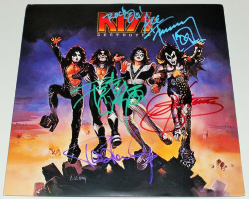 KISS BAND SIGNED 'DESTROYER' VINYL RECORD ALBUM LP w/COA GENE SIMMONS STANLEY x4