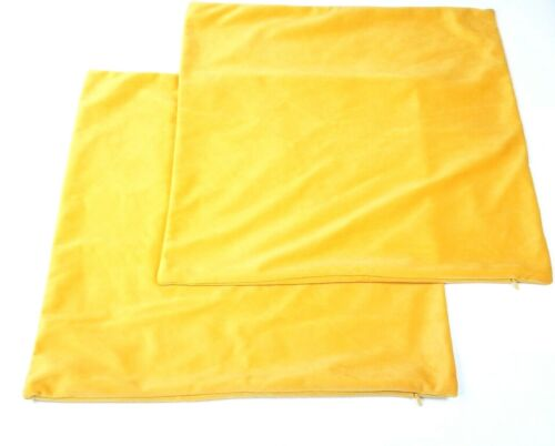 Gold Yellow set of 2 Velvet Throw Pillow Covers  18x18 Inch