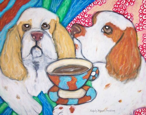 Clumber Spaniel Drinking Coffee Art Print 11x14 Dog Collectible by Artist KSams