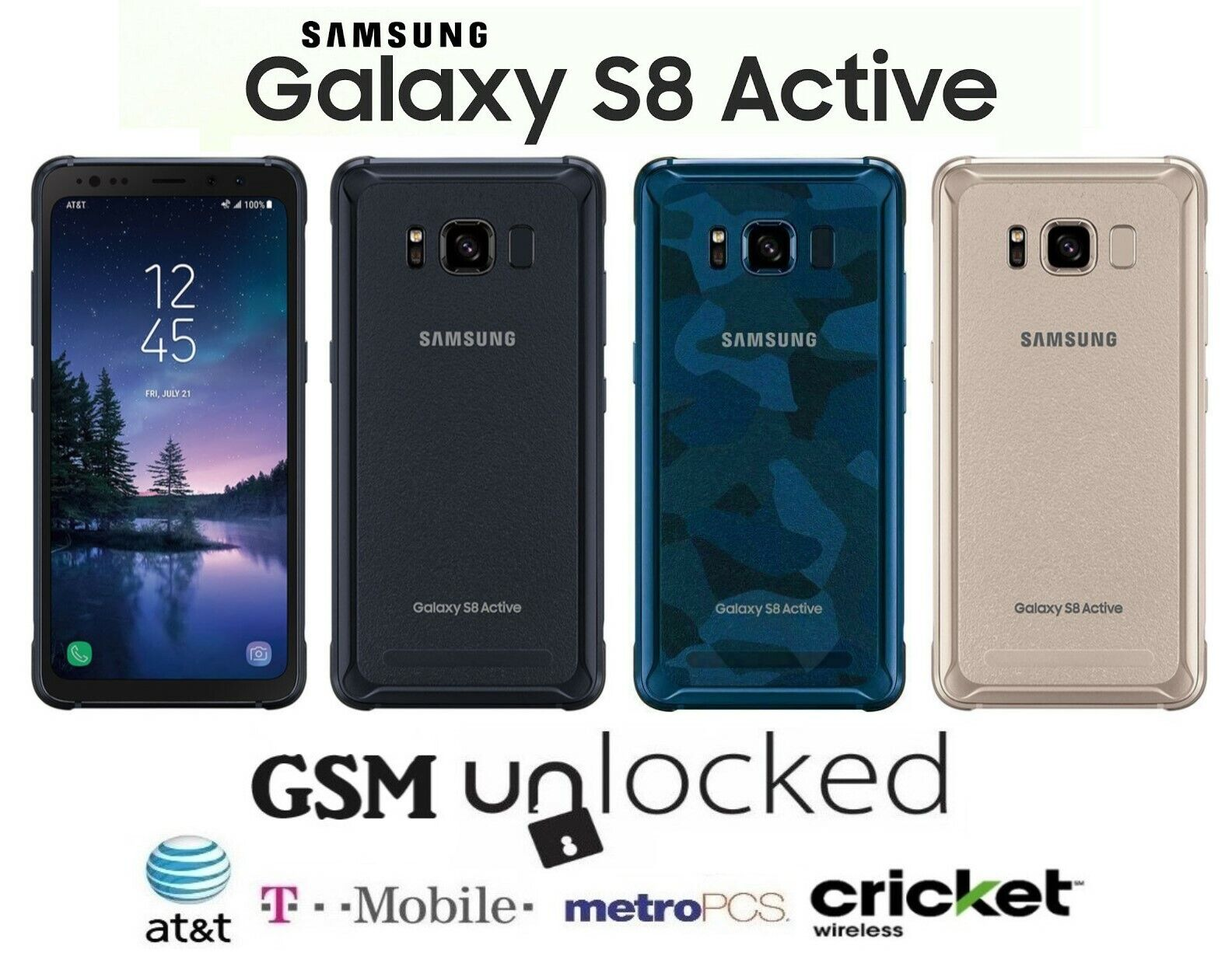 Android Phone - Samsung Galaxy S8 Active - 64GB (GSM Unlocked) T-Mobile AT&T MetroPCS Cricket