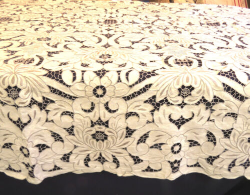 Antique Linen Madeira Banquet Tablecloth Cutwork 66x118 Rectangle