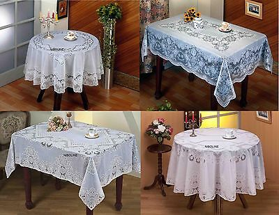 Tischdecke Spitzen ECKIG OVAL RUND Vinyl Tischtuch Pflegeleicht Decke Tafeltuch ()