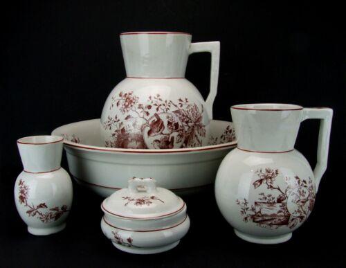 Antique Steubenville Pottery Co Transferware Pitcher Wash Basin 5 Pc Set