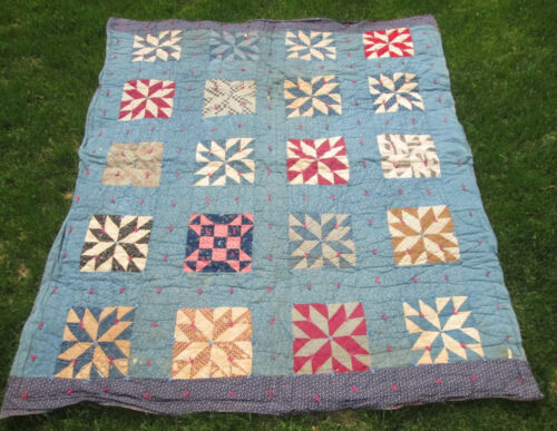 Antique 1920's STAR QUILT Great Blue Calico Prints CHINTZ Backing