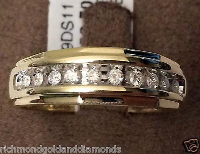 7mm 0.25ct 10k Yellow Gold Mens Wedding Anniversary Round Diamonds Ring Band