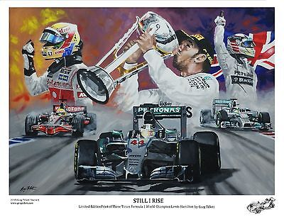 LEWIS HAMILTON A3 limited edition print signed by artist Greg Tillett. FORMULA 1