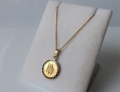 9Ct Gold Over Sterling Silver St Christopher Pendant Necklace