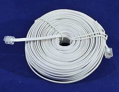 100FT RJ11 MODULAR TELEPHONE EXTENSION CORD WIRE LINE CABLE WHITE