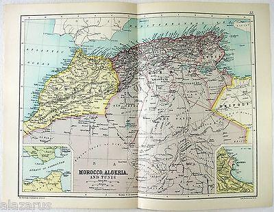 Original 1909 Map of Morocco, Algeria & Tunis by John Bartholomew & Co