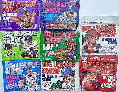 8 Packs Big League Chew Gum Sampler - Every Flavor That's Currently Available