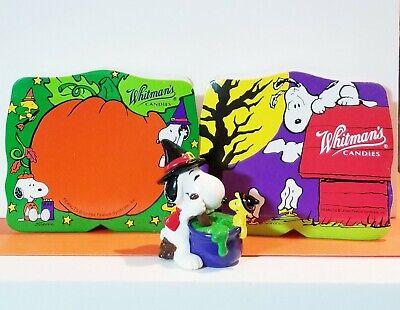 Vtg Peanuts Snoopy Halloween PVC Figure Witches Cauldron Whitman Candy Boxes