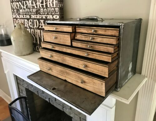 Antique Chest Oak Wood 8 Drawer Carpenter Tool Chest Worker Mechanic Machinist