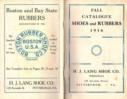 Wholesale Shoes and Rubbers 1916 Fall Catalogue H.J. Lang Shoe Co Pittsburgh PA