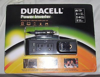 (New Duracell 175w Power Inverter 2.1 Amp 2 AC Outlets 2 USB Outlets NIB)