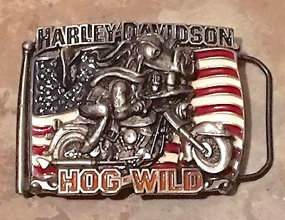 Authentic Harley Davidson, Hog Wild, Flag , Bike, Belt Buckle