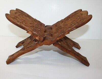 Carved Wood Collapsible Book Bible Stand Holder Rack India