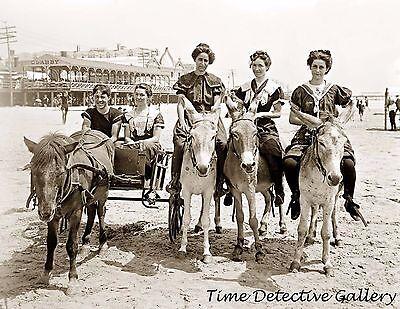 Ride Print Jersey - Young Women Riding Donkeys, Atlantic City, New Jersey-1905- Historic Photo Print