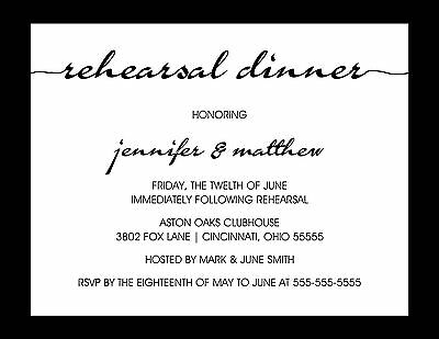 Rehearsal Dinner Custom Invitation Script Any Colors