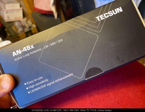 TECSUN AN-48x ACTIVE LOOP AM LONGWAVE SHORTWAVE RADIO ANTENNA OPEN BOX COMPLETE