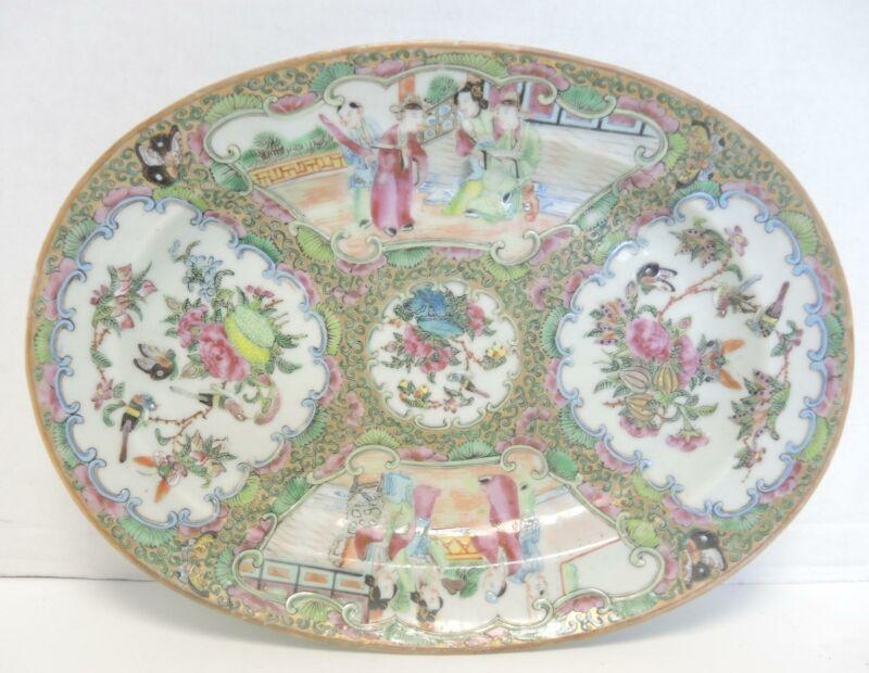 """Antique Chinese Rose Mandarin Deep Well 14 1/2"""" Oval Platter"""