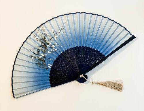 Chinese Japanese Bamboo Handfan Folding Fan White Plum Flower Print Blue Color